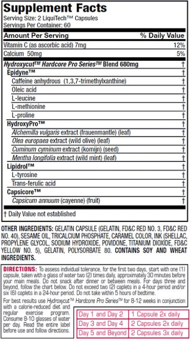 Hydroxycut ProSeries Supplement Facts