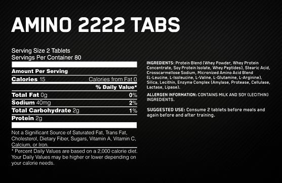 Optimum Nutrition Amino 2222 Supplement Facts