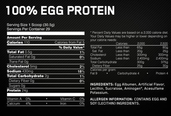 Amino Energy Supplement Facts