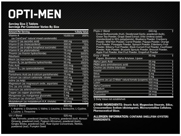 Optimum Nutrition Opti-Men Supplement Facts