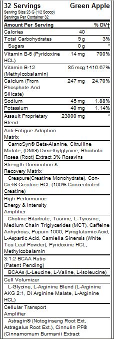 MusclePharm Assault Supplement Facts