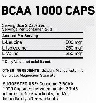 Optimum Nutrition BCAA Facts