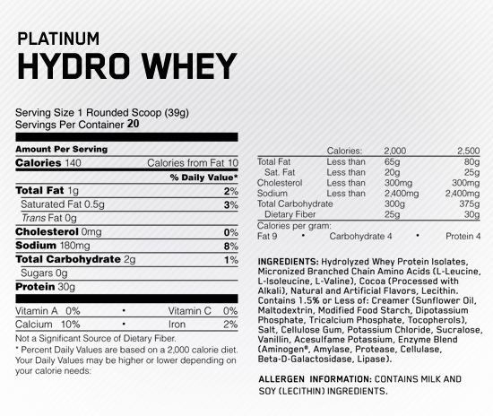 Optimum Nutrition Hydrowhey Supplement Facts