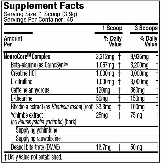 MuscleTech NeurocoreSupplement Facts