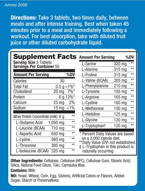 Prolab Amino 2000 Supplement Facts