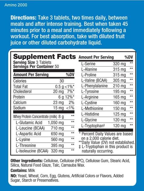 Prolab Amino 2000 Supplement Facts