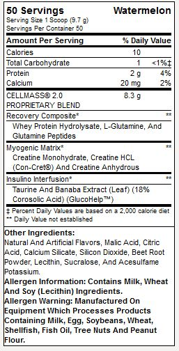 BSN Cell Mass 2.0 Supplement Facts