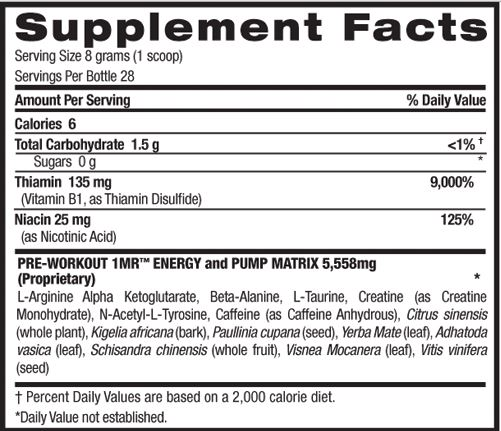 BPI Sports 1MR Supplement Facts