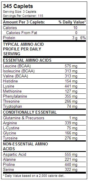 Dymatize Super Amino 6000 Supplement Facts
