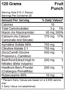 MusclePharm Hybrid NO Supplement Facts