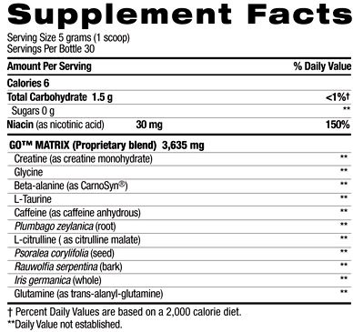 EXT GO Pre-Workout Supplement Facts