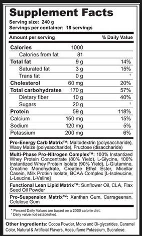 4D Mass Phase Supplement Facts