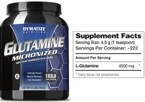 Dymatize Glutamine Micronized Supplement Facts