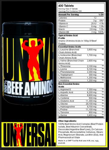Universal Beef Amino Supplement Facts