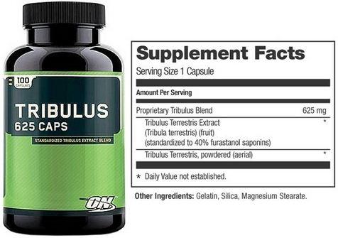 Optimum Nutrition Tribulus Terrestris Supplement Facts