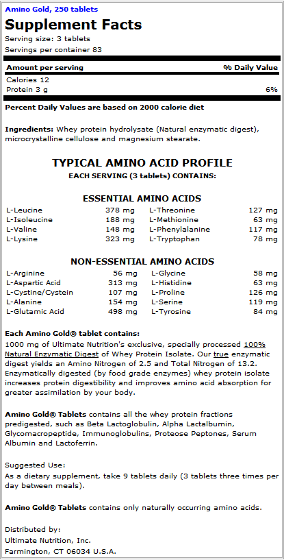 Ultimate Nutrition Amino Gold Supplement Facts