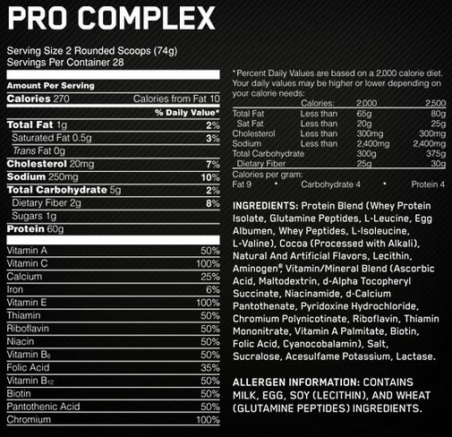 Optimum Nutrition Pro Complex Supplement Facts