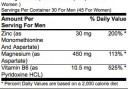 ON ZMA Nutrition Facts
