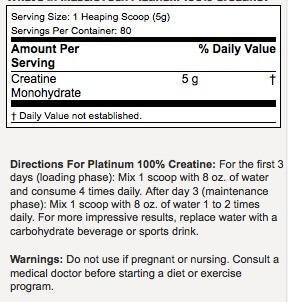 Platinum Creatine Monohydrate Supplement Facts