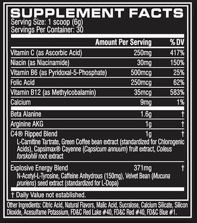 Cellucor C4 Ripped Supplement Facts