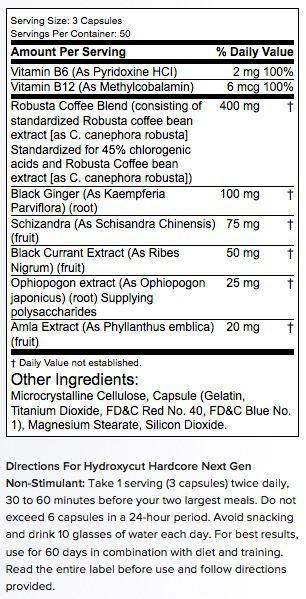 Kandungan Suplemen Hydroxycut Next Gen Non Stimulant