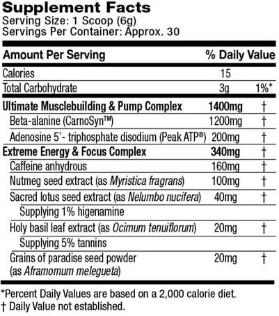 Muscletech Shatter SX-7 Supplement Facts