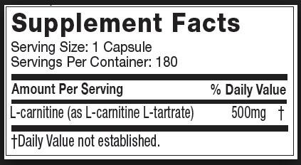 MT Platinum Carnitine Supplement Facts