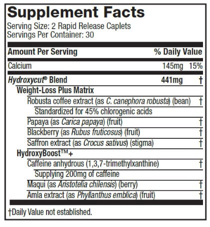 Hydroxycut Pro Clinical Supplement Facts