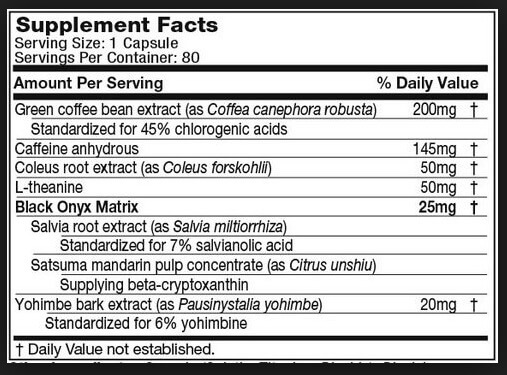 Hydroxycut Hardcore Elite Supplement Facts